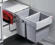 Hailo Big-Tandem 40/2 Mülleimer Küche 2x20 Liter mit Kehrset Abfalleimer *516599