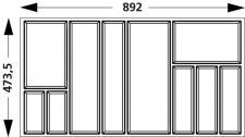 Besteck-/Schubladeneinsatz 100 cm Besteckkasten Hettich ArchiTec Zarge 547418.LP
