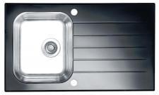 Alveus Küchen-/Einbauspüle Schwarz, Weiß 860 x 500 mm Edelstahl Glas *Glassix-10