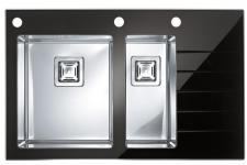 DESIGN Einbauspüle Küchenspüle 860x540mm Edelstahlspüle Glasspüle *Crystalix 20