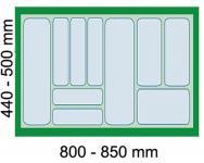Dirks Schubladen Besteckeinsatz Kombi 90 cm Besteckeinsatz kürzbar Grau *41928