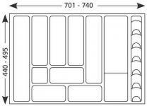 80-er Besteckeinsatz kürzbar Schubladeneinsatz 701-740mm Besteckkasten *517169