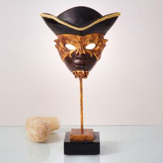 Venezianische Maske Casanova / Kunststein / Dunkelbraun-Gold-Sch