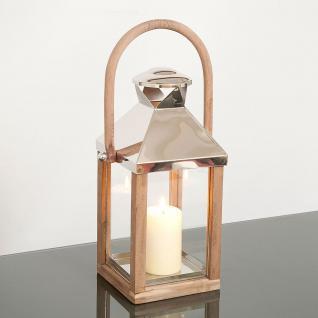 Laterne Klein / Aluminium-Holz-Glas / Natur-Silber