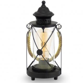 Vintage / Tischleuchte / 1-flammig / Stahl, Glas / schwarz, klar / Tischlampe