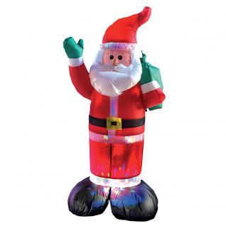 Selbstaufblasender Weihnachtsmann mit farbigen LEDs 120 cm Weihnachtsbeleuchtung