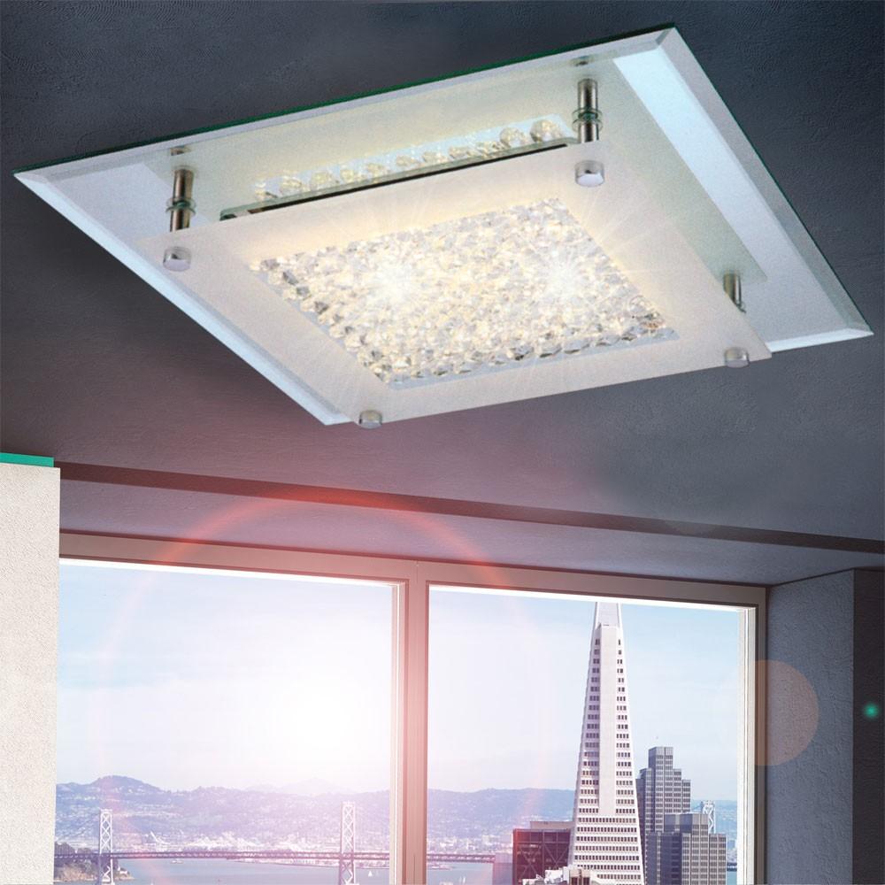 licht trend flowy led deckenleuchte mit glaskristallen 28 x 28 cm deckenlampe kaufen bei. Black Bedroom Furniture Sets. Home Design Ideas