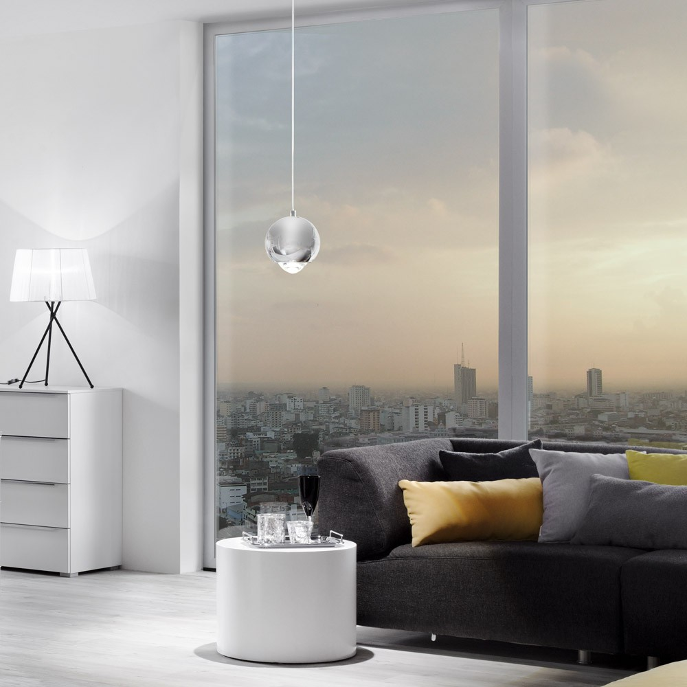 s luce beam led h ngeleuchte mit glaslinse 12 cm h ngelampe chrom kaufen bei licht design. Black Bedroom Furniture Sets. Home Design Ideas