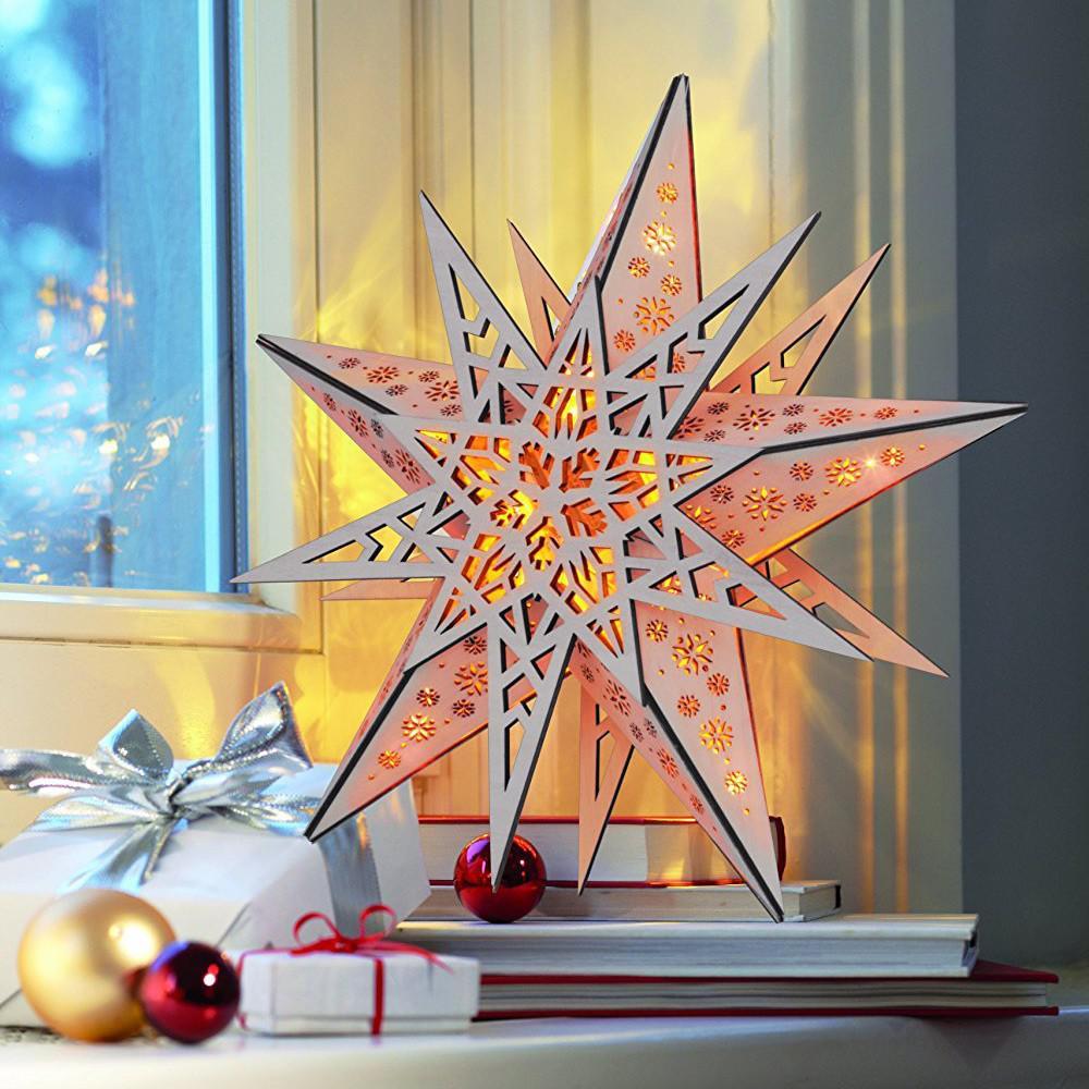 led weihnachtsstern aus holz 30 cm mit fernbedienung. Black Bedroom Furniture Sets. Home Design Ideas