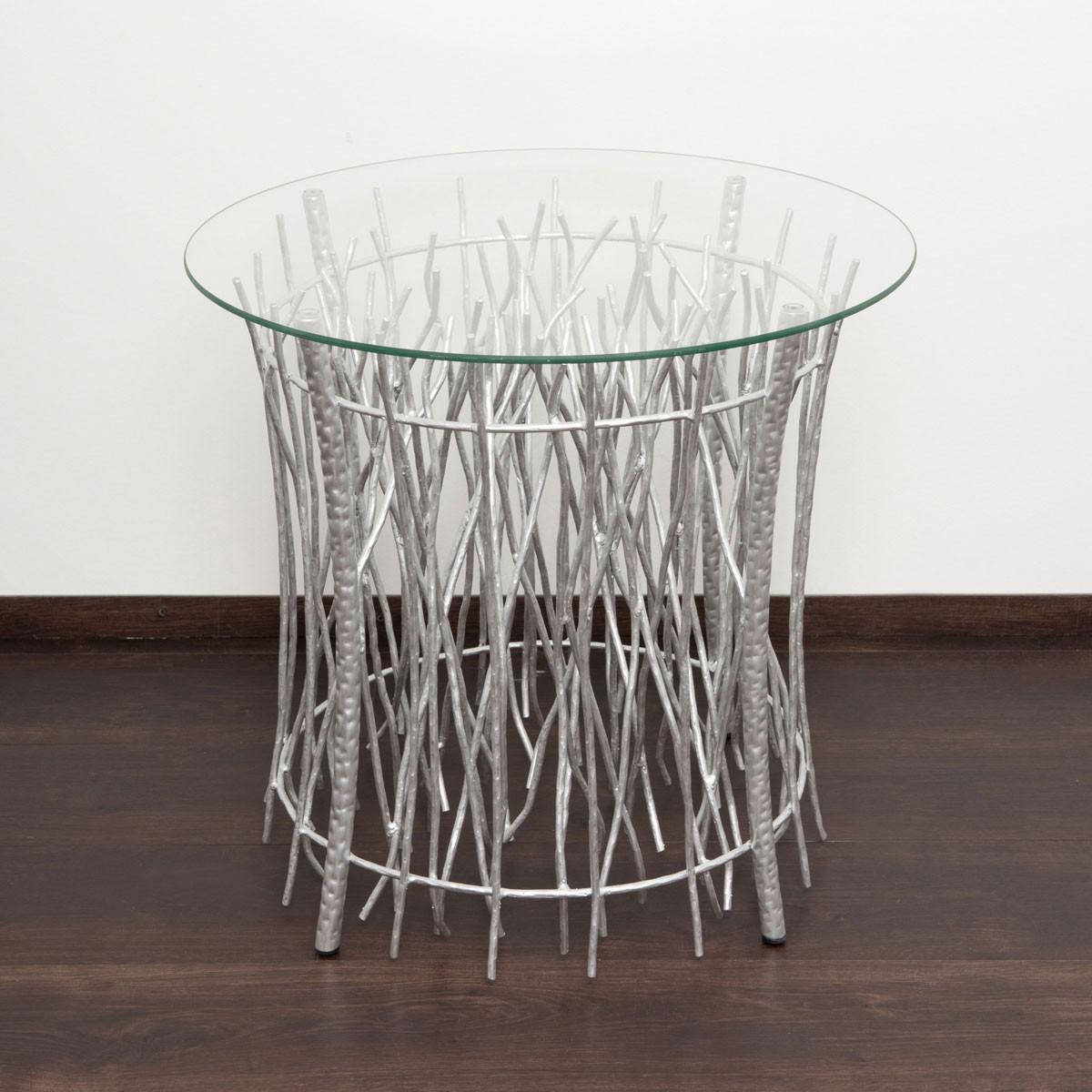 90 wohnzimmertisch in silber rund couchtisch silber for Designer couchtisch glas metall