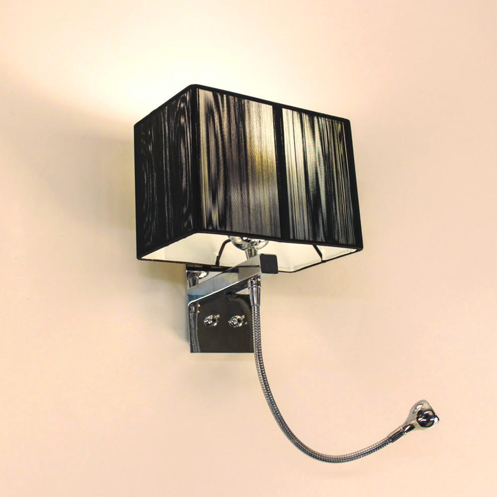 twine wandleuchte mit led lesearm und stoffschirm hotellampe leselampe schwarz kaufen bei. Black Bedroom Furniture Sets. Home Design Ideas