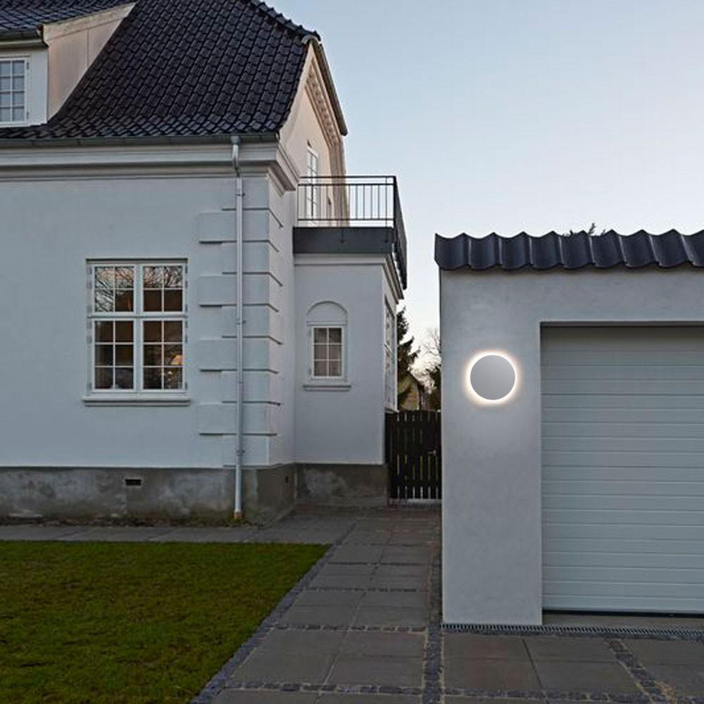 nordlux uno disc led aussen wandleuchte 673 lumen edelstahl wandlampe aussen kaufen. Black Bedroom Furniture Sets. Home Design Ideas