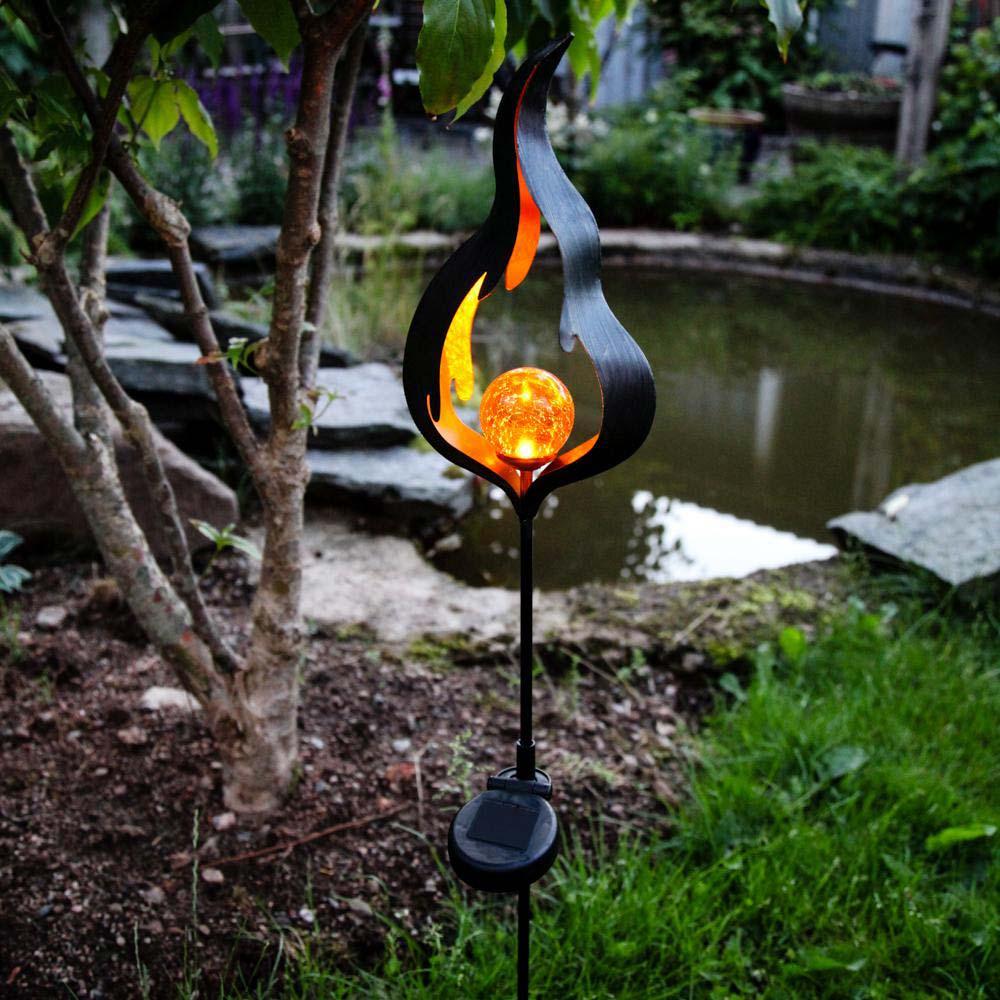 premium led solarleuchte flamme schwarz led solarleuchte led solarlampe kaufen bei licht. Black Bedroom Furniture Sets. Home Design Ideas