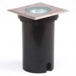 Konstsmide 7608-000 Energiespar Bodeneinbaustrahler eckig / Edelstahl, klares Glas
