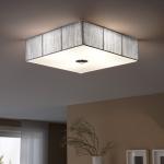 s.LUCE Twine Stoff-Deckenleuchte 45x45 cm / Deckenlampe Silber