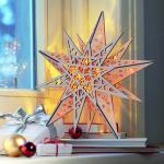 LED Weihnachtsstern aus Holz Ø 30 cm / mit Fernbedienung, Stern Weihnachten