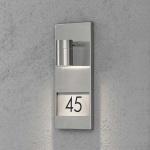 Konstsmide 7655-000 Modena Aussen-Wandleuchte mit Hausnummern / Edelstahl, klares Glas, Reflektor