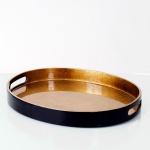 Holländer 132 3707 Tablett Giulia Oval Mittel / Fiberglas / Gold-Schwarz