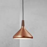 Licht-Trend Pinzantero 2 / Kupfer-Hängeleuchte / Ø 27cm / Walnuss-Holz / Pendellampe