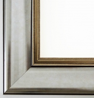 Bilderrahmen Rahmen Holz Klassisch Flensburg in Silber 5, 5 - Top Qualität
