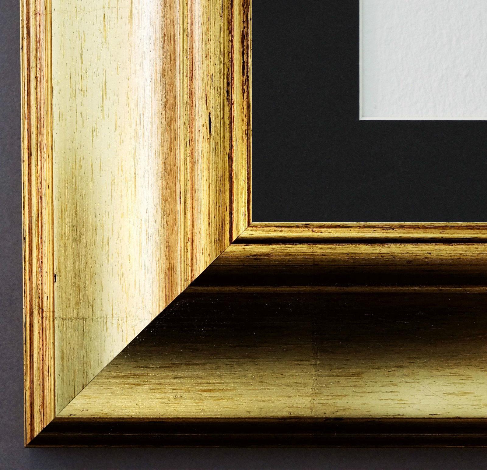 bilderrahmen acta in gold mit passepartout in schwarz 6 7 top qualit t kaufen bei hans. Black Bedroom Furniture Sets. Home Design Ideas