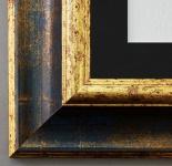 Bilderrahmen Acta in Blau - Gold mit Passepartout in Schwarz 6, 7 Top Qualität