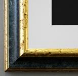 Bilderrahmen Genua in Schwarz Gold mit Passepartout in Weiss 4, 3 Top Qualität