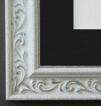Bilderrahmen Verona in Weiss Silber mit Passepartout in Schwarz 4, 4 Top Qualität
