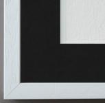 Bilderrahmen Como Weiss Holzstruk. mit Passepartout in Schwarz 2, 0 Top Qualität