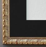 Bilderrahmen Brescia in Gold mit Passepartout in Schwarz 2, 0 Top Qualität