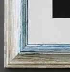 Bilderrahmen Bari in Beige Blau mit Passepartout in Weiss 4, 2 Top Qualität