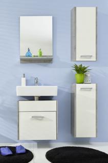 Badezimmer Set Splash 4 teilig weiß mit Industrie Beton grau 100 x 185 cm hängend