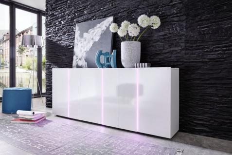 Kommode Disco 3 in 1 weiß glänzend mit LED Farbwechsel Beleuchtung 195 x 78 cm
