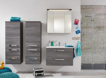 Badmöbel komplett Set 5-teilig grau/Sardegna Rauchsilber mit Waschbecken Adamo