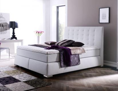 Boxspringbett Doppelbett Ehebett Claudine 200 x 200 cm Leder Optik weiß 5-Gang-Bonell Federkern Matratze Hotelbett