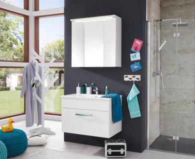 Badezimmer Badmöbel Set 2-teilig Adamo weiß Hochglanz mit Waschbecken