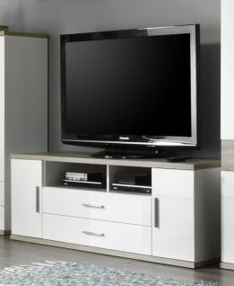 TV-Unterteil Lowboard Arena weiß Hochglanz mit Sonoma Eiche hell sägerau 180 x 55 cm
