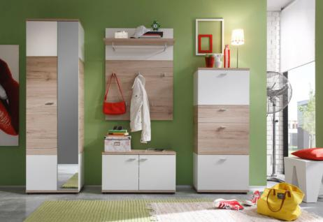 garderobe garderobenschrank schuhschrank campus san remo eiche hell wei kaufen bei oe online. Black Bedroom Furniture Sets. Home Design Ideas