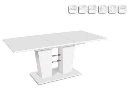Esstisch Küchentisch Venda weiß ausziehbar 140 auf 180 x 90 cm verchromte Traversen