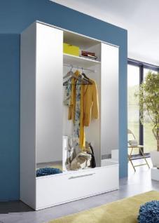 Garderobenschrank Ela weiß 115 x 195 cm mit Spiegeltüren 2-türig