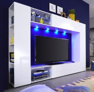 Wohnwand Boost in weiß Hochglanz Fernsehschrank inkl. LED Beleuchtung 232 x 162 cm
