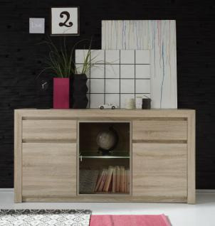 sideboard anrichte sevilla eiche sonoma hell mit get ntem glas und led beleuchtung 164 x 85 cm. Black Bedroom Furniture Sets. Home Design Ideas