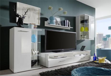 Wohnwand Anbauwand Glossy weiß glänzend LED RGB Beleuchtung 238 x 176 cm