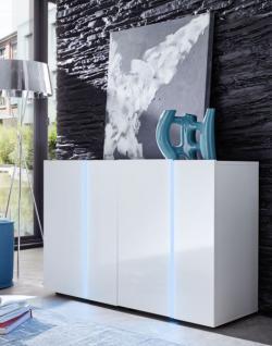 Anrichte Sideboard Kommode Disco 2 in 1 weiß glänzend 130 x 78 cm mit LED RGB Beleuchtung