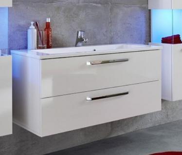Waschbeckenunterschrank inkl. Waschbecken Sky Hochglanz weiß 101 x 51 cm