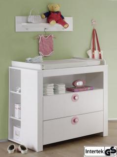 Babyzimmer Wickelkommode Olivia Set mit 2 Regalen weiß mit rosa 96 x 102 x 76 cm 3 teilig