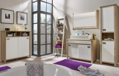 Badmöbel komplett Set Eiche San Remo hell und weiß Waschtisch inkl. Waschbecken 5-teilig Seven