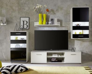 Wohnzimmer Anbauwand Tugor weiß mit schwarz LED RGB Beleuchtung ...