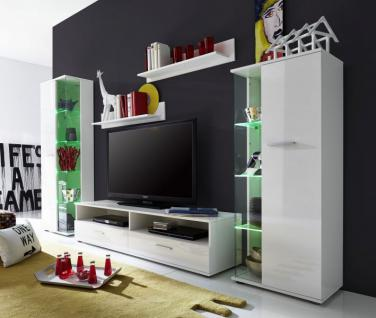 Anbauwand Wohnwand Glossy2 weiß glänzend LED RGB Beleuchtung 279 x 166 cm