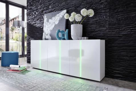 Sideboard Anrichte Disco 3 in 1 weiß glänzend mit LED RGB Beleuchtung 195 x 78 cm